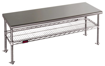 Cleanroom Gowning Benches with Standard Undershelf